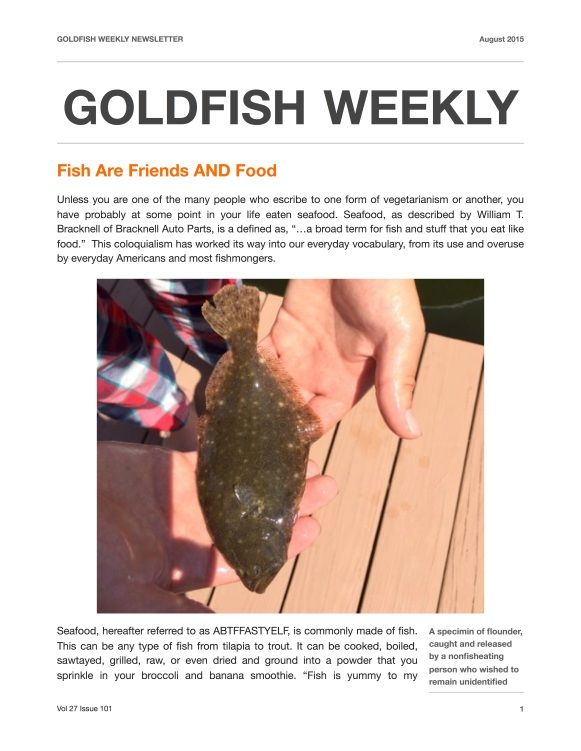 Goldfish weekly newsletter 01
